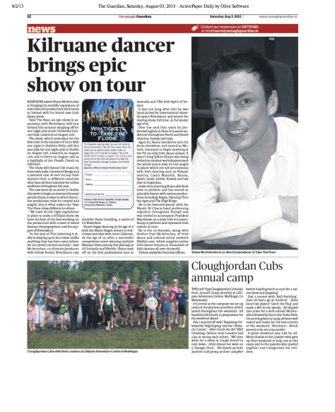 An article from Shane's local newspaper the Nenagh Guardian""